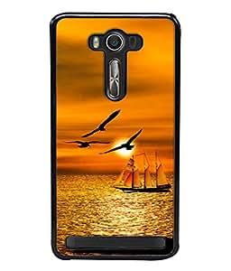 Snapdilla Designer Back Case Cover for Asus Zenfone Selfie ZD551KL (Sunset Sky Sun Orange Travel Boat Backwater)