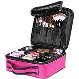 AMASAVA Kosmetiktasche mit abnehmbaren Trennwänden Kosmetische Aufbewahrungstasche Make-up-Set Beauty Case für Make-up Pinsel Nagellack ect Rose rot 26,5 * 11,5 * 23,5 cm