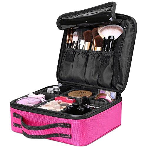 AMASAVA Kosmetiktasche mit abnehmbaren Trennwänden Kosmetische Aufbewahrungstasche Make-up-Set Beauty Case für Make-up Pinsel Nagellack ect Rose rot 26,5 * 11,5 * 23,5 cm -