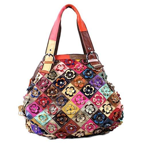 Damenhandtasche Mode Farbe Passende Blume Schaffell Diagonal Cross-Pack Große Kapazität Outdoor Entertainment Shopping Trend Umhängetasche Knödel Tasche,Colorful