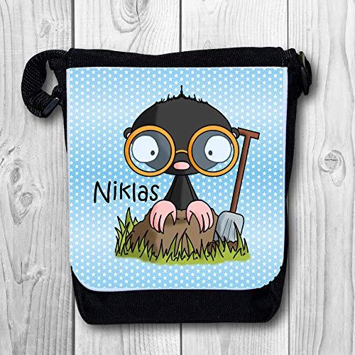 Umhängetasche Kindertasche mit Namen personalisiert - Motiv/Design: Maulwurf mit Brille