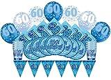 Unique Party - 83117 - Article de Fête d'Anniversaire de 60 ans - Glitz Kit pour 8 personnes - Bleu