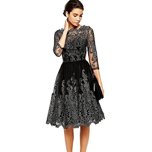 Frauen Stickerei Kleid Weinlese Tulle 3/4 Lange Hülsen Dünne Taille Cocktailparty Spitze Langer Rock S-Xl . Black . Xl (Kleid Quinceanera Stickerei)