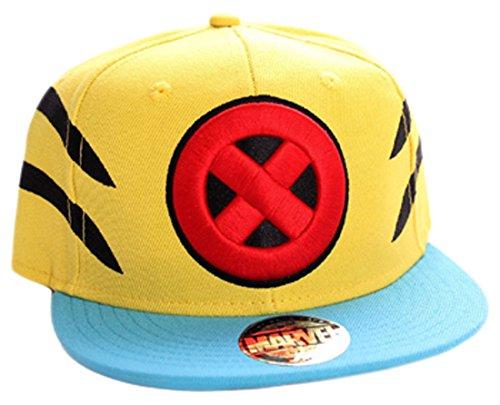 Marvel Wolverine Logo y Garra de Slash Snapback Cap (Amarillo/Azul)