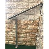 Geländer Edelstahl Außen & Innen Komplett Set | Treppengeländer bodenmontage Bausatz | Wandhandlauf für Treppenhaus Edelstahl-Handlauf massiv & stabil V2a | Eingangsgeländer für Stufen Bayram® (100 cm)
