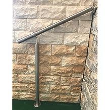 Geländer Edelstahl Außen & Innen Komplett Set | Treppengeländer bodenmontage Bausatz | Wandhandlauf für Treppenhaus Edelstahl-Handlauf massiv & stabil V2a | Eingangsgeländer für Stufen Bayram® (130 cm)