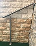 Geländer Edelstahl Außen & Innen Komplett Set | Treppengeländer bodenmontage Bausatz | Wandhandlauf für Treppenhaus Edelstahl-Handlauf massiv & stabil V2a | Eingangsgeländer für Stufen Bayram® (90 cm)