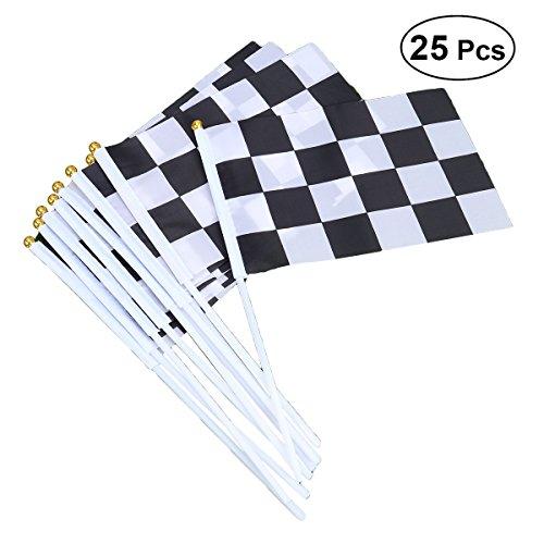 TOYMYTOY Hand Flagge Zielflagge Racing Flags Stick Flagge Schwarz Weiß Hand Fahne 14x21cm 25 Stück