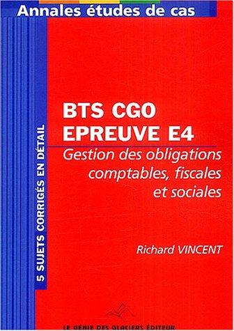 BTS CGO Epreuve E5 : Analyses de gestion et organisation du système d'information