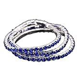 Modisches Armband Bracelet 18k vergoldet Tennisarmband Kristall Glitzer Elastisch Strass Blau Rhinestone Blue Saphir Für Frauen Damen Kinder Mädchen Geschenk Valentinstag