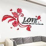 GOUZI Romantische 3d Acryl Schlafsofa, TV Liebe rattan links Version der Schwarz-rote Blume ultra-kleine abnehmbare Wall Sticker für Schlafzimmer Wohnzimmer Hintergrund Wand Bad Studie Friseur
