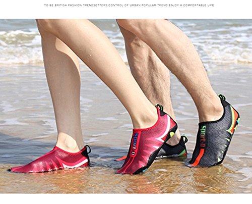 Scarpe Da Acqua Neoker, Scarpe Da Acqua Scarpe Da Bagno Scarpe Da Spiaggia Asciugatura Rapida Scarpe Da Nuoto Scarpe Da Uomo A Piedi Nudi Nero Rosso 35-45 Nero