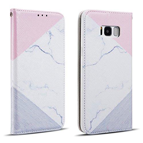 ZCDAYE Hülle für Samsung Galaxy S7,Luxus PU Leder Textur Muster [Magnetisch Adsorption] Lederhülle Handyhülle mit Karten-Slots Ständer Flip Brieftasche Schutzhülle - Weiß