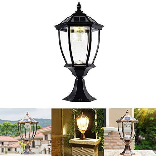 Solar Säulenkopflampe Im Freien wasserdichte Europäische Tür Spalte Gartenlampe Villa Im Freien Gemeinschaft Garten Park Wandleuchte,Black -