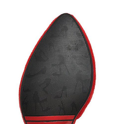 AgooLar Femme Dépolissement Pointu à Talon Haut Tire Couleur Unie Chaussures Légeres Rouge