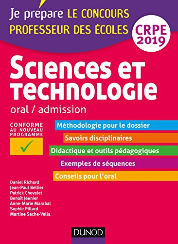 Sciences et technologie - Oral, admission - CRPE 2019 par Daniel Richard