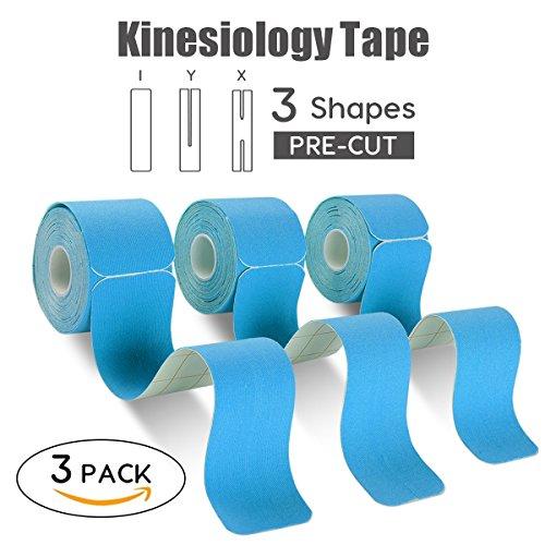 FriCARE 3 Rollen vorgeschnitten X Y I Kinesiologie Tape, Muskeln Sporttape Kinesiotape Wasserdicht  Therapeutisches Tape zur Übung, Sport Wiederherstellung von Verletzungen für Knöchel, Knie