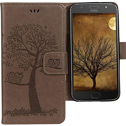 CLM-Tech kompatibel mit Motorola Moto G5 Plus Hülle Tasche aus Kunstleder, Leder-Tasche Lederhülle, Baum Eule grau