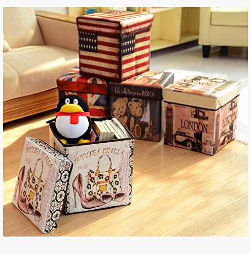 FunBlast Multi-Functional Folding Storage Ottoman Box Organizer Cum Stool with Seat Cushion, Storage Boxes for Toys for Kids - Unicorn - Random Color Dispatch - 1 Pcs