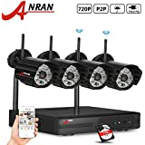 ANRAN 720P Wireless Megapixel IP Cameras 4CH WIFI NVR Wireless Security Surveillance Systems Plug and Play Indoor/Outdoor Day Night Vision 1TB Hard