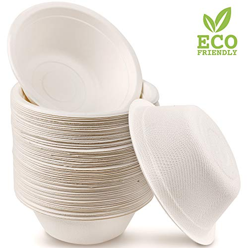 60 Cuencos de Papel de Caña de Azúcar Desechables, 350ml - Ecológicos Biodegradable Compostables  Resistente e Impermeable - Apto para Microondas - Alternativa Natural al Plástico.