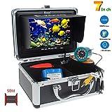 SEXTT Buscador de Peces Profesional, cámara giratoria de 360 Grados, grabadora DVR de 7 Pulgadas, 50 Metros de Pesca submarina IP68, buscador de Peces LED 38