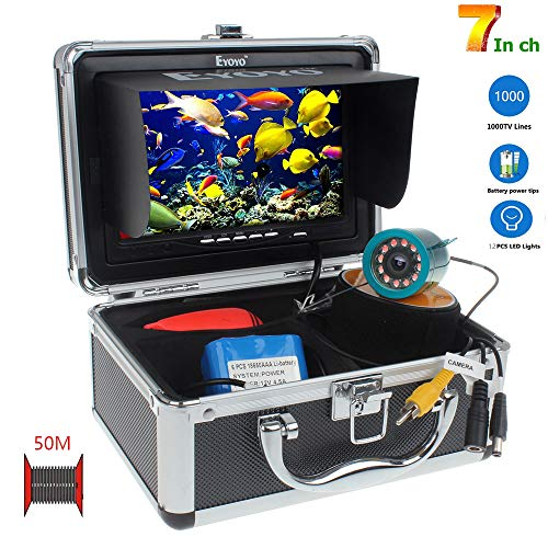 SEXTT Professioneller Fischfinder, 360 Grad drehbare Kamera 7 Zoll DVR-Rekorder 50 Meter Unterwasserfischen IP68 wasserdichter Fischfinder Lowrance-karten