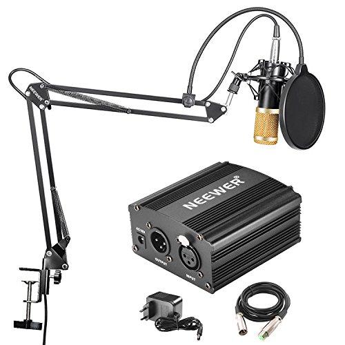 Neewer NW-800 Microfono a Condensatore Professionale NW-35 Stand per Microfono Asta Sospensione Braccio Forbici Cavo XLR Serratura Tavolo NW-3 Filtro Pop Alimentazione 48V Phantom con Adattatore