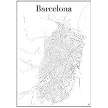 Barcelona Poster — Stadtplan , Stadtkarte , Plakat , Kunstdruck , Staßennetz und Wandposter ( in 60 cm x 84 cm) von Barcelona , Spanien , Katalonien , Bari Gòtic , Casa Batllò , Camp Nou , Palau de la Mùsica Catalana , Museu Picasso , Passeig de Grácia , Kathedrale von Barcelona , Santa Maria del Mar , Torre de Collserola , Design von gridlines: modern , zeitlos , stilvoll , elegant , minimalistisch , geschmackvoll , künstlerisch , individuell , Dekoration und Gestaltung für Wohnung oder Büro