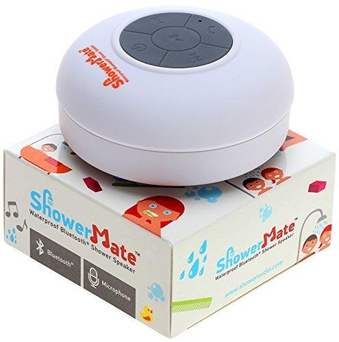 Showermate Wireless Bluetooth Lautsprecher | Wasserdichtes Duschradio mit Freisprecheinrichtung und eingebautem Mikrofon | Kompatibel mit allen Bluetooth Geräten – Weiß (Akustik-wireless-lautsprecher)