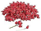 VBS Großhandelspackung 200 Beeren Deko gefrostet am Draht ø 1,5cm Rot Künstlich