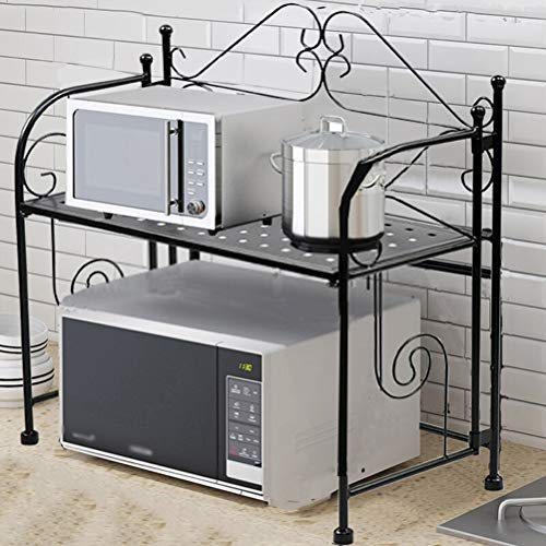 Kitchen furniture - Type de plancher multifonctionnel de support de stockage de support de four de micro-onde à la maison pliable WXP (Couleur : NOIR)