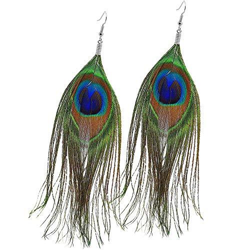 tumundo 1 Paar Feder-Ohrringe Ohr-Schmuck Ohrhänger Pfau Auge Boho Indianer Hippie Damen Ohrstecker Vintage Fasching (Indianer Kostüm Schmuck Ohrringe)