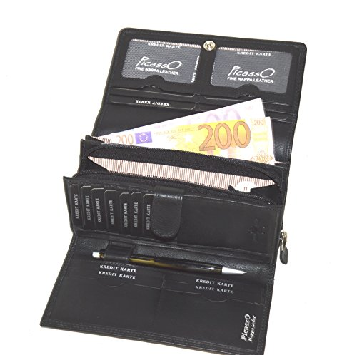 flevado Picasso Leder Damen Geldbörse German Design Buisness Brieftasche mit großem Stauraum