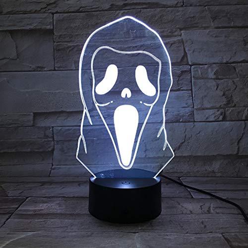 Nachtlicht 3D Illusion Led 3D Illusion Nachtlicht Lampe Geist Grimasse Erschreckende Lichter Hause Halloween Dekoration Kinder Kind Cool Geschenk 3D Lampe