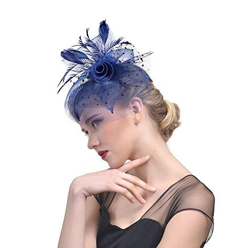 Likecrazy Damen Fascinator Hüte mit Feder Mädchen und Frauen 20er 50er Jahre Hochzeit Kopfschmuck Haarschmuck Cocktail Tea Party Kirche Accessoire Netz Mütze ... -