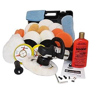 Kingbarney XXL Profiset - Exzenter Poliermaschine / Polierer inkl. Koffer 710 Watt Set 3 + Polierschwamm Zubehörset - inkl. Politur - 26 Teile - Auto polieren