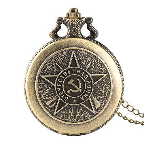 Herren-Taschenuhr, Bronze Quarz sowjetischen Kommunistische Badge Taschenuhr, Sichel Hammer Muster Geschenk für Herren