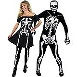 Déguisement pour couple adulte de la nuit avec pour la Femme (XSmall) une jupe courte noire motif squelette + des collants assortis et pour l'Homme (Small) une combinaison seconde peau motif squelette. Idéal pour les fêtes d'Halloween ou les enterrements de vie de garçon et de jeune fille.
