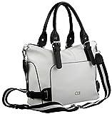 Handtasche mit abnehmbarem Schultergurt, ca. 24,5x28,5x15cm, schwarz-weiß