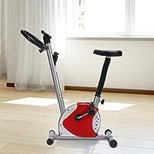 Bicicleta Estatica de Spinning Fitness Altura Ajustable Pantalla Peso Max 100kg (Rojo)