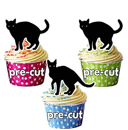 Vorgeschnittene Schwarze Katzen Halloween - Essbare Cupcake Topper / Kuchendekorationen (12 Stück) (Cupcakes Katze Halloween Schwarze)