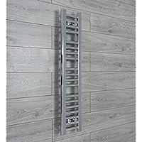 companyblue 200mm Wide Chrome Heated Towel Rail Radiator Flat Ladder for Stylish Bathroom (200 x 1000 mm)