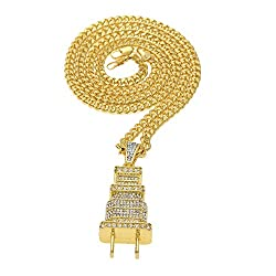 Kingko® Power Plug Shape Fully Lced Out Diamond Bling Hip Hop Cuban Necklace Chain