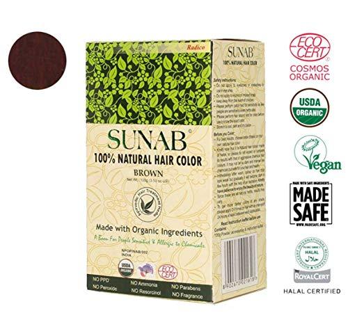 radico 100% Natural sunab Brown 100% Natural bio Organic hairc olor