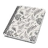 SIGEL JN604 Libreta espiral básico, 16.2 x 21.5 cm, punteado, tapa dura, 120 páginas, motivo de hojas, blanco/negro