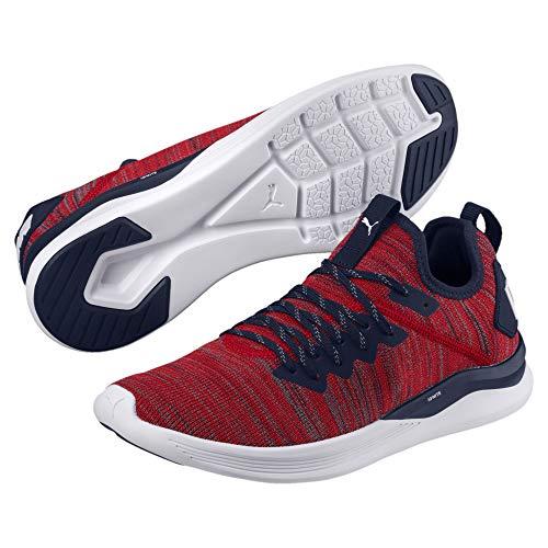 Puma Ignite Flash Evoknit Herren Sneaker Ribbon Red-Peacoat-White 10.5 - Red-peacoat