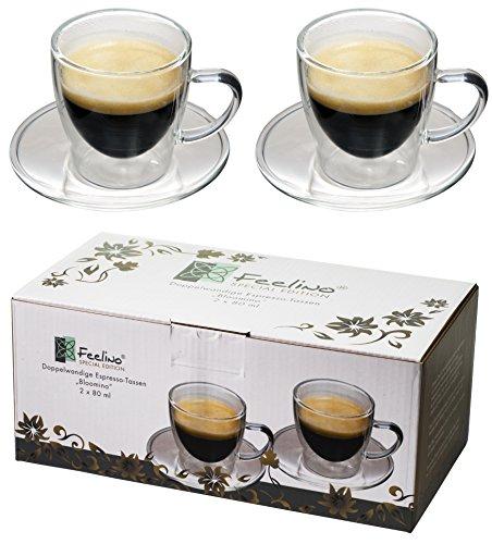 Feelino 2X 80ml doppelwandige Espresso-Tassen mit Henkel und Untersetzer, modern, Zeitloses Design in toller Verpackung, by