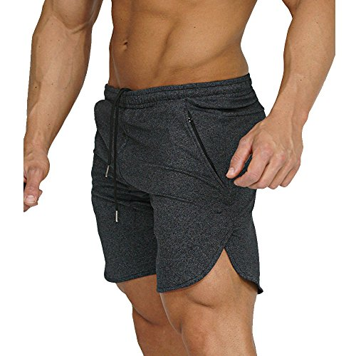 EVERWORTH Men's Gym Workout Shorts Running Short Pants Fitted Training Bodybuilding Jogger With Zipper Pockets 3 Colors