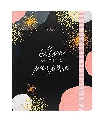 Erik - Agenda Premium Settimanale 2020, 17 mesi, 16,5x20 cm, copertina con fondo nero, perfetta per scuola o lavoro - Glitter Gold Dreams